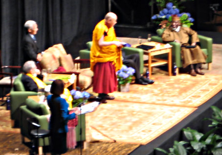 His Holiness the 14th Dalai Lama, on stage with other religious leaders in Portland, May 9, 2013