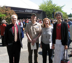 Bill Spangle, Dora DeCoursey, Sally Alworth and Jess Alworth at HH the Dalai Lama's visit to Portland on May 9.